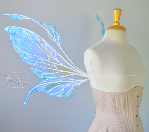 Datura Iridescent Convertible Fairy Wings in 'Frost' with white veins