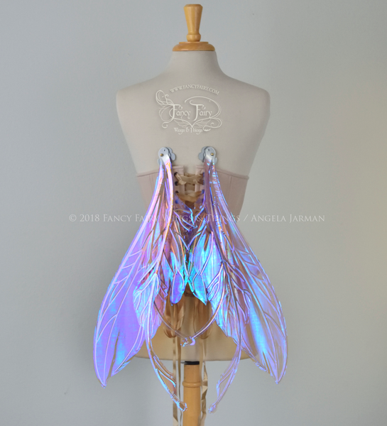 Datura Iridescent Convertible Fairy Wings in Lilac with Chrome Silver veins