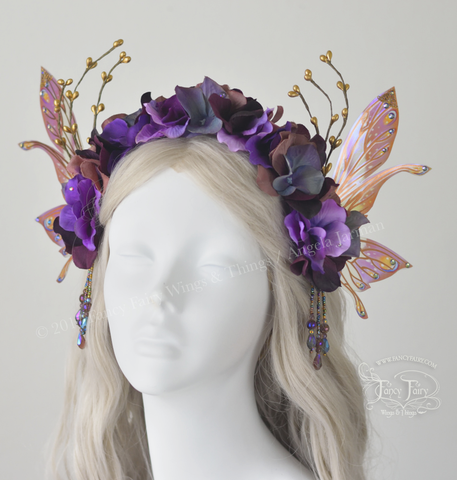 Dusty Plum Flower Fairy Headdress with Salome wings