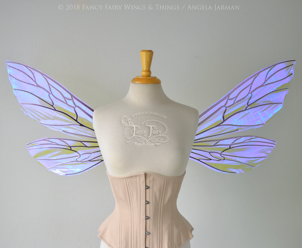Ellette New Convertible Iridescent Fairy Wings in Ultraviolet with Chameleon veins