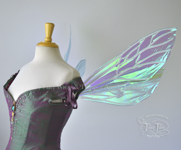 Ellette Iridescent Fairy Wings in Aquamarine with Pearl veins