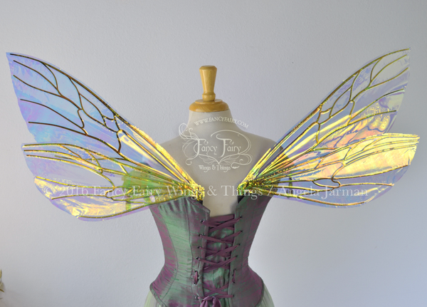 Ellette Iridescent Fairy Wings in Clear Diamond Fire with black veins