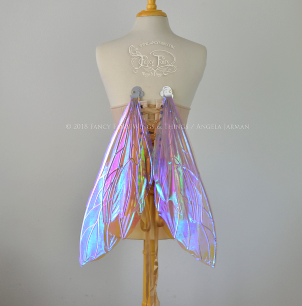 Ellette New Convertible Iridescent Fairy Wings in Lilac with Silver veins
