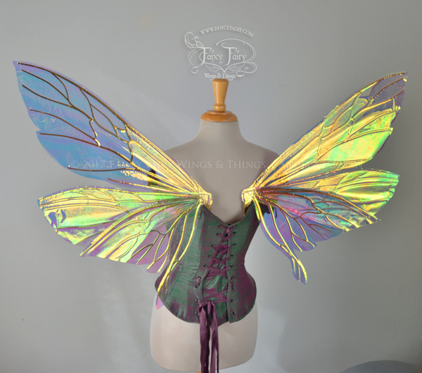 Ellette / Salome Hybrid Iridescent Fairy Wings in Clear Diamond Fire with Gold veins