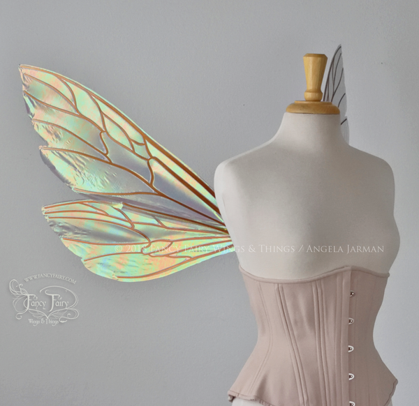 Ellette Iridescent Fairy Wings in Patina Green with Copper veins
