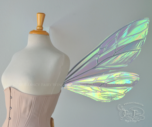 Ellette Iridescent Fairy Wings in White Satin with Chrome veins
