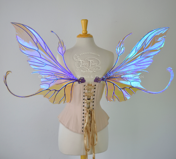 Elvina Iridescent Convertible Fairy Wings in Lilac with Chameleon Cherry Violet Glitter veins