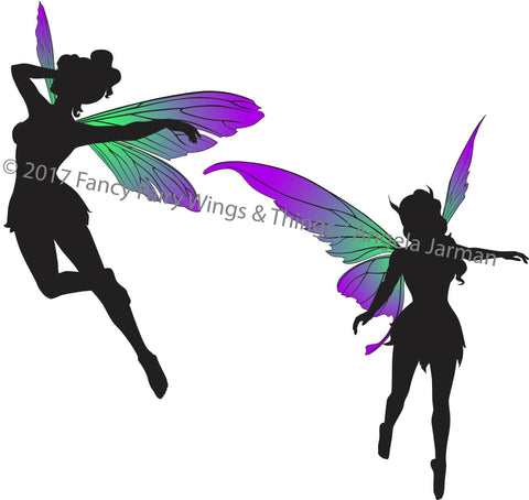 Flying Fairies Silhouettes Clip Art Vector Art - EPS and ai files