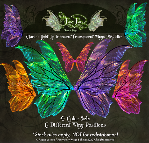 Clarion Light Up Fairy Wings Transparency Stock PNG files