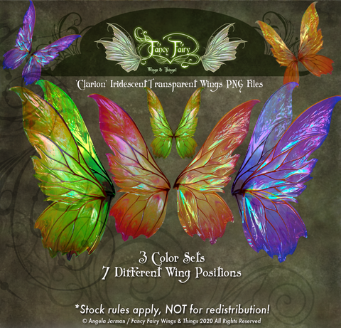 Clarion Painted Fairy Wings Transparency Stock PNG files