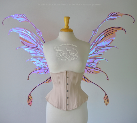 Fauna Iridescent Convertible Fairy Wings in Berry with Chameleon Cherry Violet Glitter veins