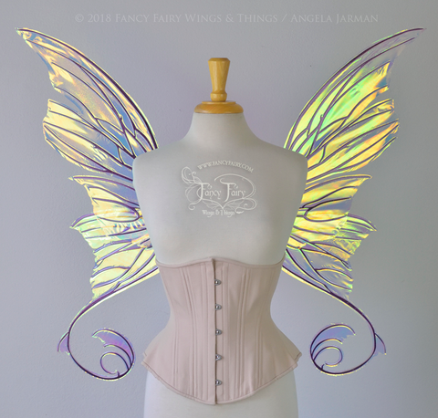 Aphrodite Iridescent Fairy Wings in Clear Diamond Fire with Chameleon Cherry Violet Glitter Veins