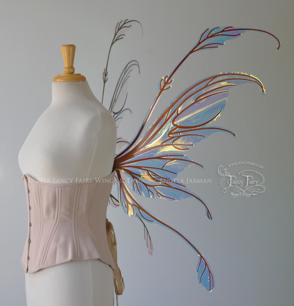 Fauna Iridescent Convertible Fairy Wings in Clear Diamond Fire with Copper veins