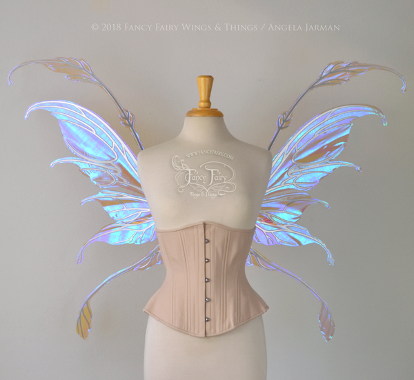 Fauna Iridescent Convertible Fairy Wings in Lilac with Silver Chrome veins