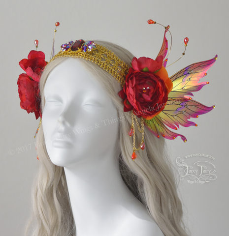 Fire Flower Fairy Headdress with Vivienne wings