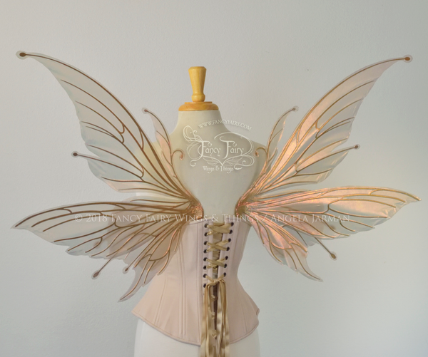 Flora / Aynia Hybrid Iridescent Fairy Wings in Rose Gold with Candy Coat Gold veins