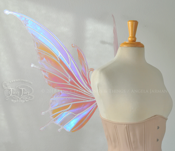 "Flora ""Sugarplum"" Iridescent Fairy Wings with Glittered Flocking 'frost'"