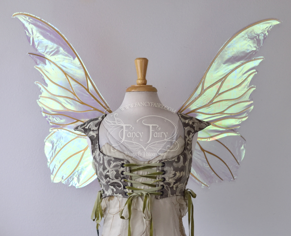 Clarion Iridescent Fairy Wings in Satin White with Gold veins