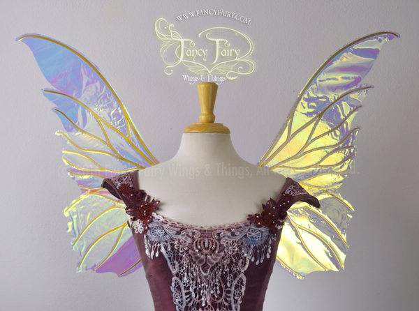 Clarion Iridescent Fairy Wings in Clear with Gold veins