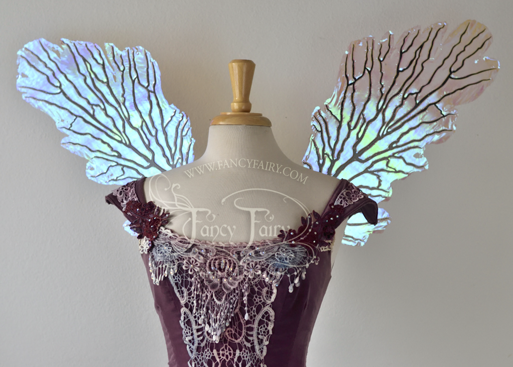 Gothic Sea Fan Iridescent Fairy Wings in Iridescent Lilac with black veins