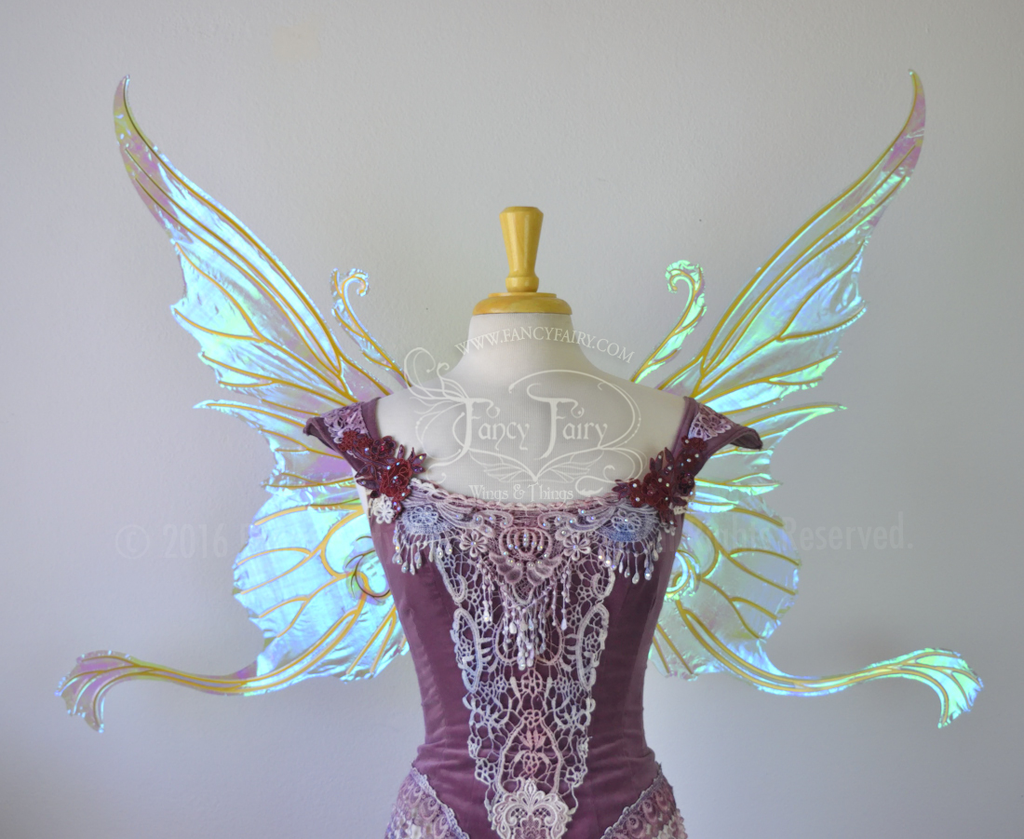 Serena Layered Iridescent Fairy Wings in Light Green with Gold veins
