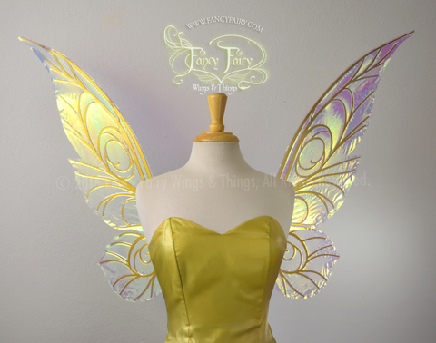Trinket 26 inch Iridescent Fairy Wings in Clear with Gold veins