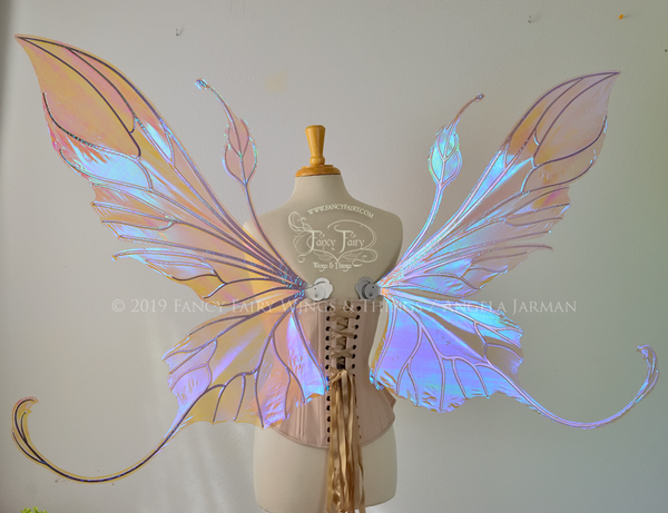 Giant Elvina Iridescent Convertible Fairy Wings in Lilac with Silver Veins