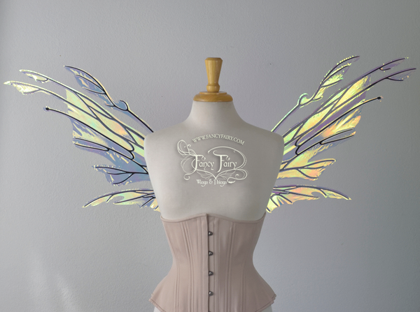 Goblin Iridescent Fairy Wings in Clear Diamond Fire with Gold Veins