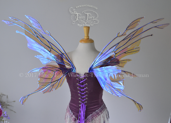 Goblin / Morgana Hybrid Iridescent Fairy Wings in Lilac with Black Veins