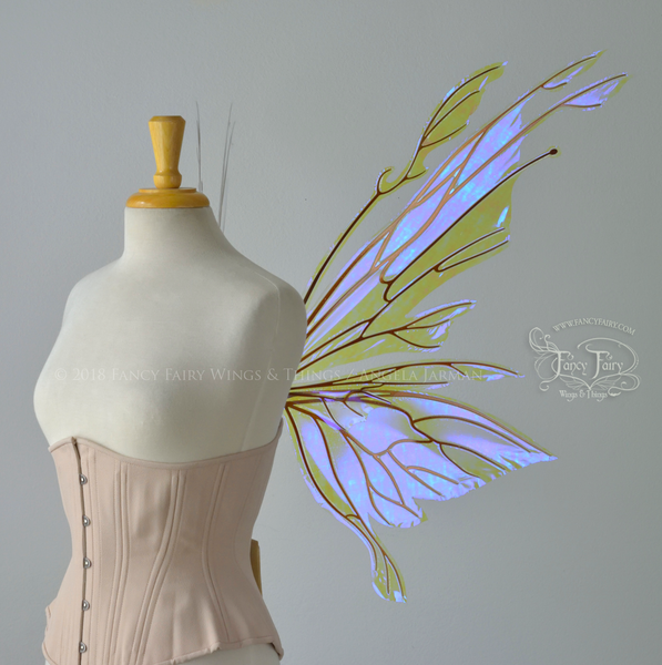 Goblin Princess Iridescent Fairy Wings in Ultraviolet with Copper Veins