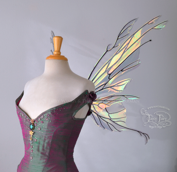 Goblin Queen Iridescent Fairy Wings in Patina Green with Pearl Veins
