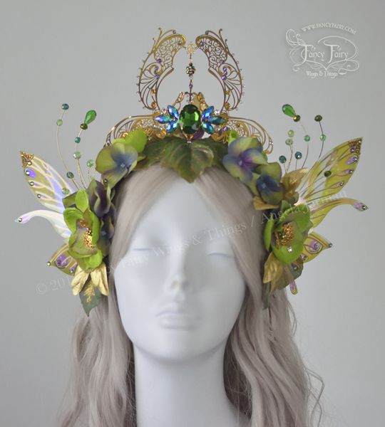 Green & Gold Absinthe Filigree Fairy Crown / Headdress with Salome wings