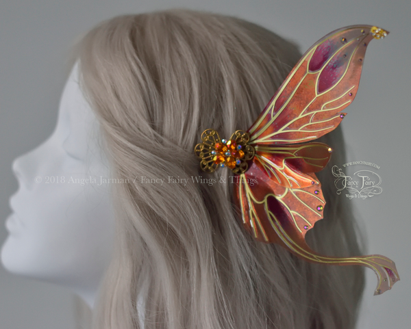 Guinevere 5 inch Fairy Wings Hair Pins in Queen Alexandria Poppy with Brass Veins