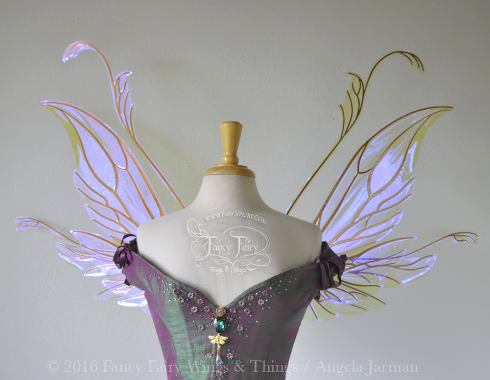 Guinevere / Vivienne Hybrid Iridescent Fairy Wings in Ultraviolet with Copper veins