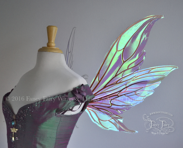 Guinevere / Aynia Hybrid Iridescent Fairy Wings in Rose Gold with Copper veins