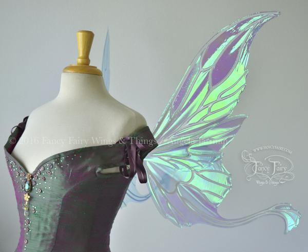 Guinevere Iridescent Fairy Wings in Aquamarine with Pearl veins
