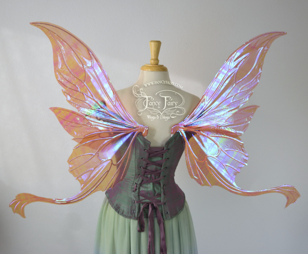 Guinevere Iridescent Fairy Wings in Berry with Pearl veins