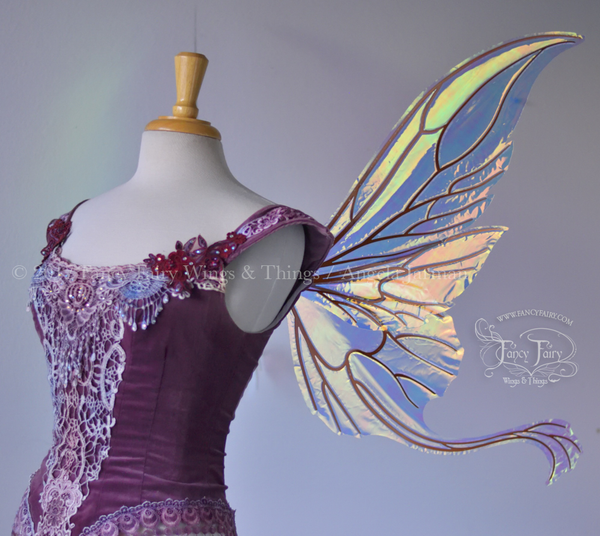 Guinevere Iridescent Fairy Wings in Clear Diamond Fire with Copper Veining