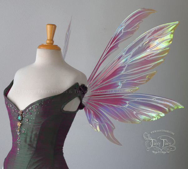 "Aynia ""Hawaiian Torch Hibiscus"" Flower Painted Iridescent Fairy Wings"