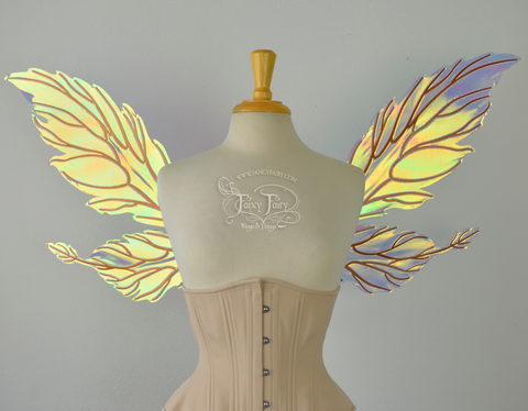 Ivy Iridescent Convertible Fairy Wings in Clear Diamond Fire with Copper veins