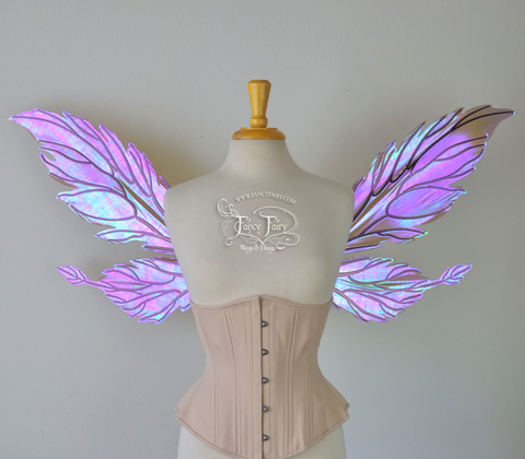 Ivy Iridescent Convertible Fairy Wings in Violet Sunset with Chameleon Cherry Violet Glitter Veins