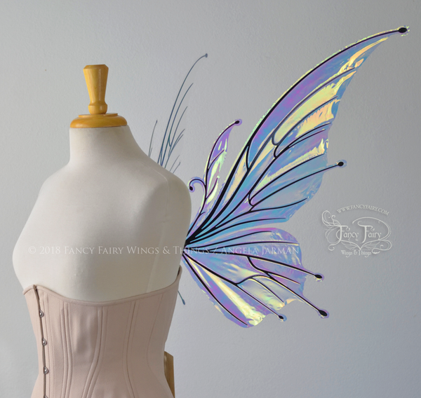 Flora Iridescent Fairy Wings in Clear Diamond Fire with Black veins