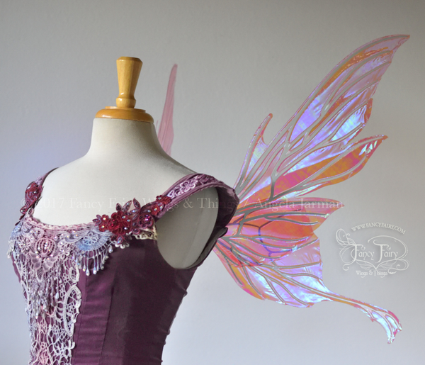 Morgana Iridescent Fairy Wings in Berry with Pearl Veins