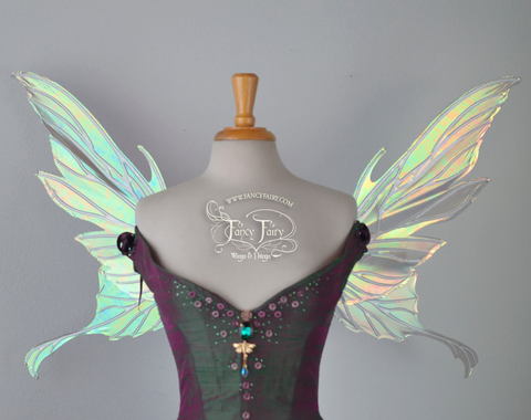 Morgana Iridescent Fairy Wings in Patina Green with Pearl Veins