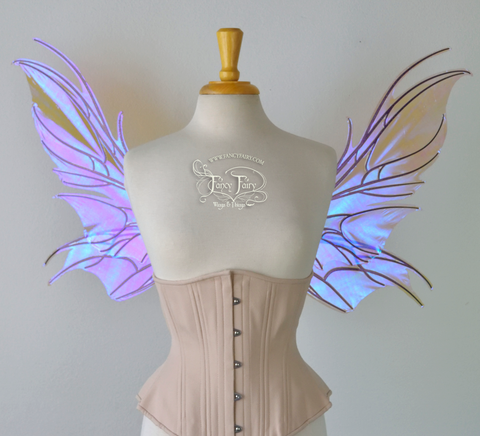 Nightshade Iridescent Convertible Fairy Wings in Lilac with Chameleon Cherry Violet Glitter veins