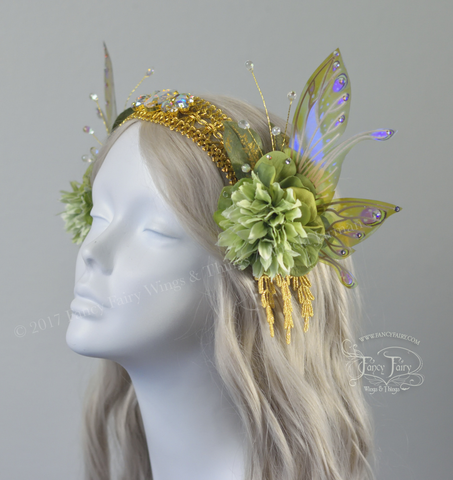 Pale Green & Gold Lace Fairy Flower Headdress with Salome wings