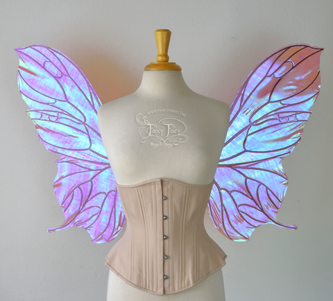 Pansy Iridescent Convertible Fairy Wings in Berry with Chameleon Cherry Violet Glitter veins