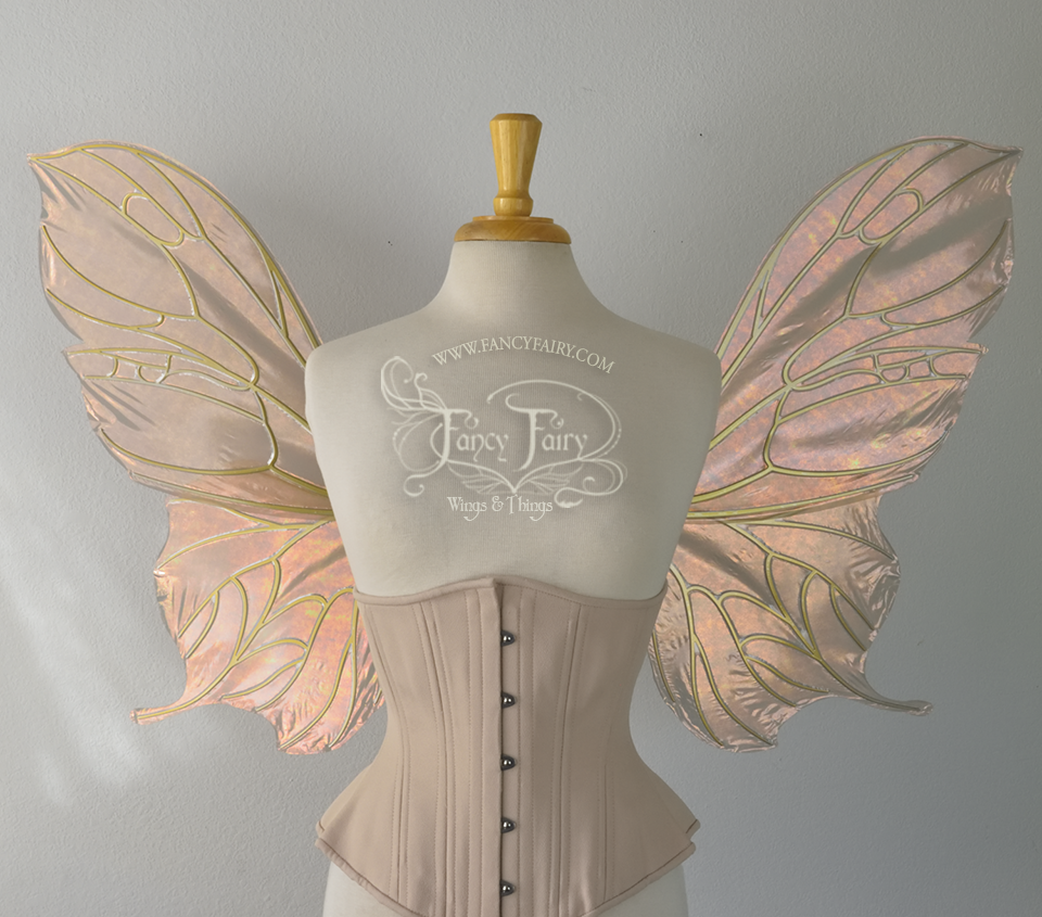 Pansy Iridescent Convertible Fairy Wings in Rose Gold with Candy Gold veins