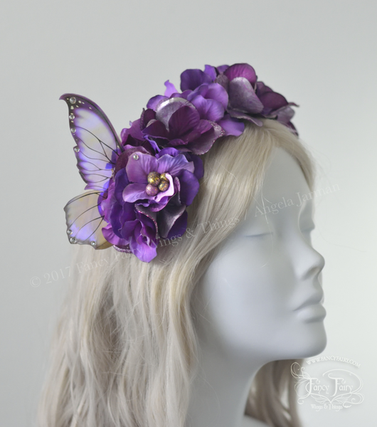 Purple Flower Fairy Headdress with Clarion wings