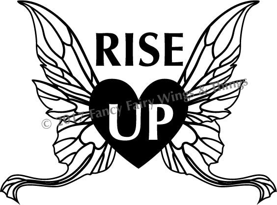 RISE UP Heart with Wings Cut File for vinyl stickers, paper crafting, etc.